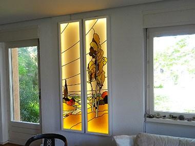 Commande d un particulier apres la restauration du vitrail il fut transforme en tableau lumineux par marion rusconi a lyon 69004