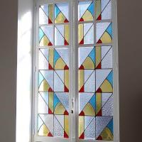 Fenêtre de salon à vitrail art-déco à lyon 69003