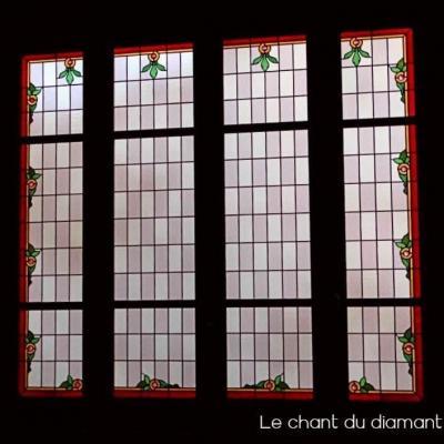 Baie vitree vitrail rectangle bordure decorative lyon 69001