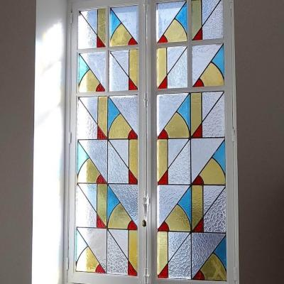 Fenetre vitrail art deco restauration lyon 69003