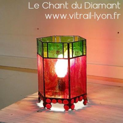 Luminaire en tiffany verre rouge et vert