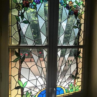 Porte fenetre vitrail art deco restaure marion rusconi caluire 69300
